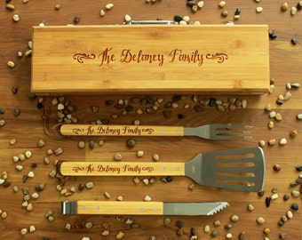 Personalized Bbq Set, Personalized Bbq Utensils, Custom Bbq Set, Custom Bbq Utensils, Barbecue Utensils, Gifts for Dad --BBQ-BOXSET-DELANEY