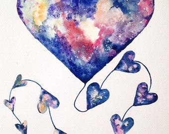 You Are My Universe Kite Blue Heart Watercolour Painting Perfect Gift for a Valentine's Day Watercolour Art