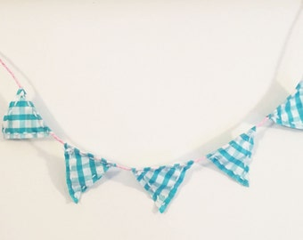 Small pennant Garland made of fabric - decoration for kids room, birthday, shop or wedding in turquoise white pink