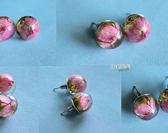 Gentle pink rose earrings - stud earrings - resin jewelry with real rose - real flower Gift for her