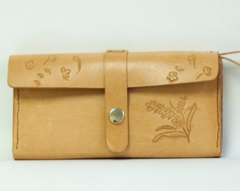Hand sewn full leather (vegetable tanned leather) Long Wallet with carved images.  Free carving for words