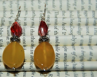 Red and Maize Glass Bead Dangle Earrings