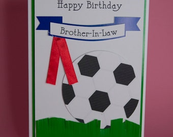 Handmade Football Birthday Card with Banner and ribbon, male footie card, football card for him, male birthday card, football lover card