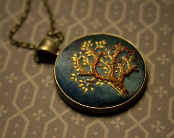 Hand Embroidered Pendant - Autumn