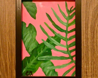 Banana Leaves Painting, READY TO SHIP, 4x6, Acrylic, Pink and Green Leaves, Frame Included, Plant Art, Plant Painting
