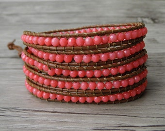 bead wraps bracelet faceted coral beads bracelet gypsy leather wrap bracelet boho stack bracelet 5 wraps bracelet Woven Bracelet SL-0253