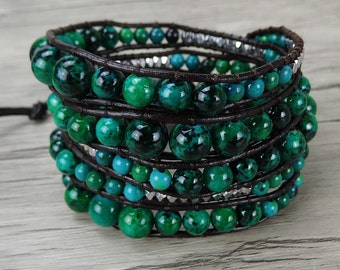 bead Wrap Bracelet Green Chrysocolla gemstone bracelet 5 wraps bracelet yoga Leather Wrap Bracelet Boho Bead Bracelet bohemian jewelry 0279