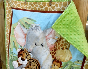 Jungle Babies Quilt,Baby Quilt,Baby Boy Quilt,Minky Quilt,Jungle Baby Quilt,Elephant Baby Quilt,Baby Gift,baby shower gift,Jungle baby quilt