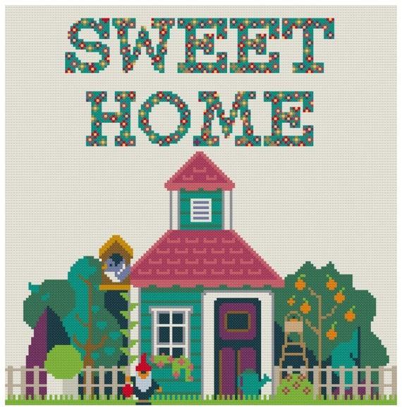 home sweet home modern SWEET HOME PdF Pattern Cross Stitch ...