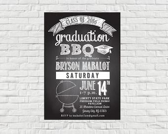 Chalkboard BBQ Graduation Invitation