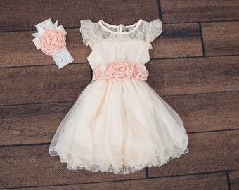 Cream Flower Girl Dress, Tulle, Sash Belt set, Lace dress, Ivory Cream Wedding, Boho Chic dress, Ivory tutu dress, Photography Prop, Country