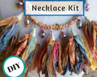Sari Ribbon Tassel Beading Statement Necklace Making Kit DIY!