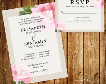 Pink Flower and Gray Background Wedding Invitation, Printable Invitation