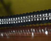 Black Velvet Rhinestone StoneTrim and Ribbion, Sari Border Trim, Sewing Supply for Indian Dresses By The Yard