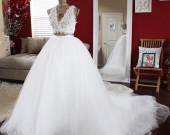 3ft Detachable ballgown skirt / bridal skirt / removable tulle skirt / romantic white ivory skirt / princess ballgown skirt / wedding skirt