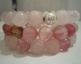 Set 3 bracelets with Rose Quartz and fluorite watermelon
