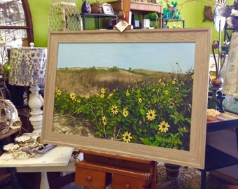 Sunflowers Beach Yellow Home Decor Original Art Oil Painting Framed by Cindy Allbritton