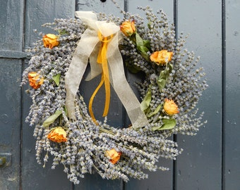 Lavender and rose wreath