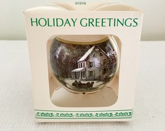 "Currier and Ives ""American Homestead"" Glass Ornament"