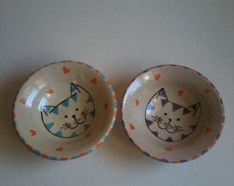 Pair cat bowls, snack bowls, cat dishes, handmade cat bowls, folk art,dancingharepottery,cat art, hearts, cat gift,cats, animal pottery, cat