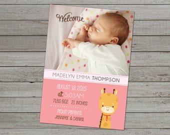 PHOTO BABY ANNOUNCEMENT - Baby Announcement Cards - Birth Announcement Cards - Baby Girl Announcement - Baby Boy Announcement - Digital