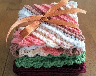 Crochet Washcloths in Autumn Colors - Set of Three