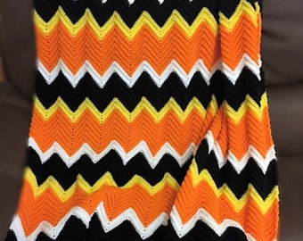 Crocheted Candy Corn Colors Chevron Afghan, Orange, Yellow, White Ripple Afghan, Halloween and Autumn Colors