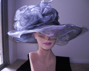 Gray Kentucky derby hat church hat