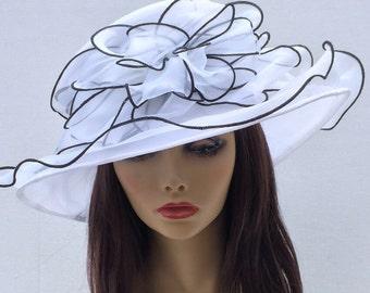 White and black Kentucky Derby Hat, Church hat, Tea Party Hat, White Hat, Formal Hat, Fashion Hat, Church Hat, Wedding Hat, Funeral Hat