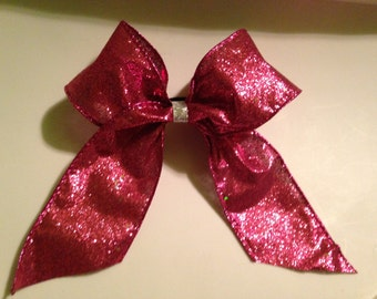 Glittery pink cheer bow