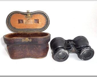1920's Elegant LEMAIRE FABT PARIS Opera Glasses Binoculars with Leather Case!