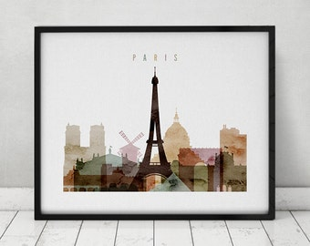 Paris art  print, Paris watercolor poster, Travel Wall art, Paris skyline, cities poster, typography art, home decor, ArtPrintsVicky