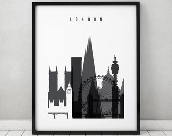 London print, poster, black and white, minimalist Wall art, London, England, United Kingdom, British, city print, Home Decor, ArtPrintsVicky
