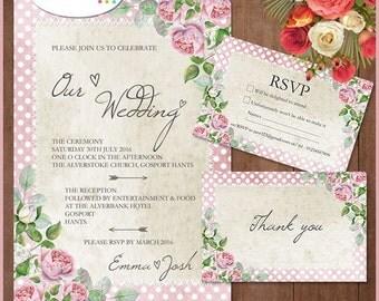 Printable wedding set, wedding invitation kit, wedding kit, printable wedding invitation, wedding rsvp, wedding thankyou, wedding, invite