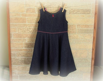 Denim/Jean Dress or Jumper--Girl's Size 5 with Gingham Accents--Modest Dress--FREE SHIPPING!