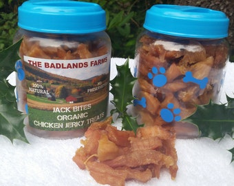 Set Of 2 Organic Chicken Jack Bites Jerky Treats in Reusable Containers