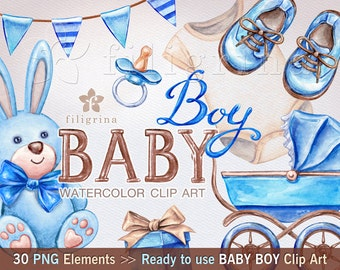 BABY BOY 30 watercolor Clip Art elements. Cute plush toys, nursery, clothes shoes, ribbon tags, pin nappy, rattle, soother. Read about usage