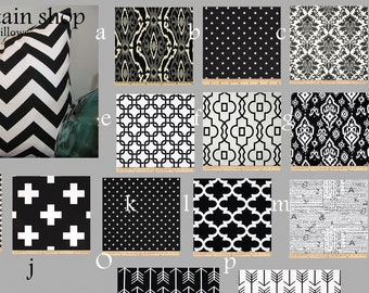 Pillow Grey  / Black White Geometric / Pillow Cover / Pillowcase / Table Runner