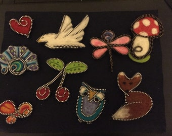 Needle felted brooches many designs to choose from