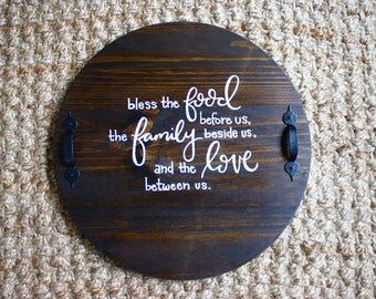 Bless the Love - Serving Tray | Display Tray | Wood Tray | Custom Platter | Serving Platter | Hand Painted | Hand Lettering | Kitchen Decor