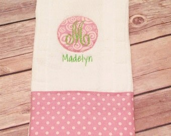Personalized Pink and Green Burp Cloth