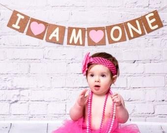 I am one banner, 1st birthday girl, cake smash photo shoot