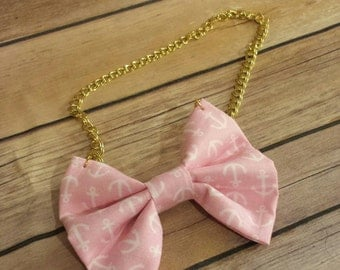 Nautical Bow tie - Bow Tie With Chain - Bow Tie Styles - Bow Tie Nekclace - Bow Tie Fashion - Handcrafted Necklaces - Fabric Jewelry