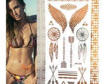 Bohemian Wings Dreamcatcher - Jewelry Accessories Temporary Tattoos Metallic Body Art Summer Beach Party