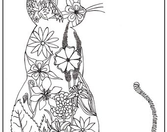 Page colorier pour adulte chat fleurs jardin coloriage - Chat a colorier adulte ...