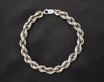 Vintage Men's Twisted Rope Sterling Silver Bracelet