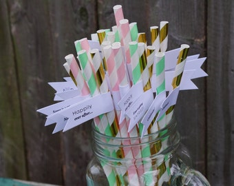 50 Engagement Paper Straws with Custom Flags / Engagement Party Straws / Personalized Straws / Party Straws / Custom Straws / Paper Straws