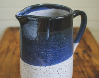 Black, Blue and White Speckled Ceramic Pitcher