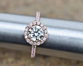 2.50 CT Engagement Ring Round Cut Halo Solid 14k or 18k Rose Gold Bridal Bridal