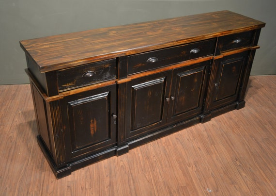 Rustic Solid Wood Distressed Black Sideboard / TV Stand